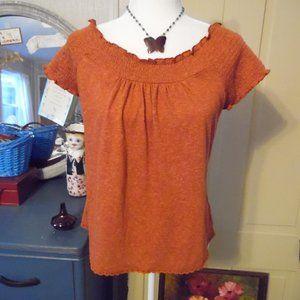 NWT Boho Smocked Short-Sleeved Top w Crocheted Hem